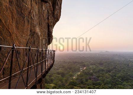 Beautiful Scenic View Of Bridge On Rocky Mountain And Sunset, Sri Lanka, Sigiriya