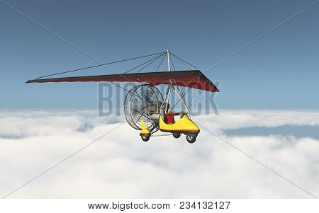 Computer Generated 3d Illustration With An Ultralight Trike Over The Clouds