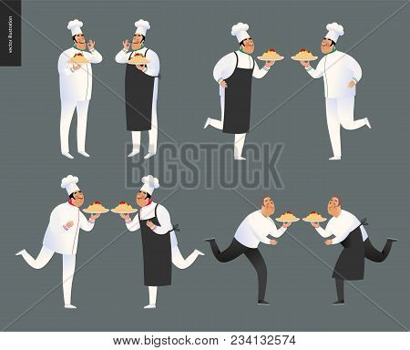 Italian Restaurant Set - Set Of Cooks And Waiters Wearing The Uniform Holding A Dish Of Pasta With R