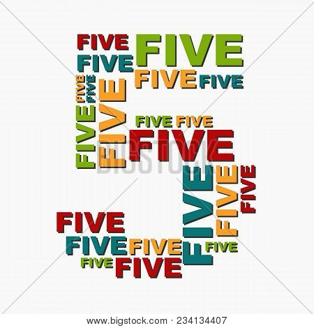 5 Five Digit Number Consisting Of Words Of Different Sizes Of Multi Color.