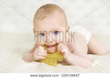 Baby Teether, Kid Bite Teething Toy In Mouth, Infant Child Growing First Tooth, Little Boy In Diaper