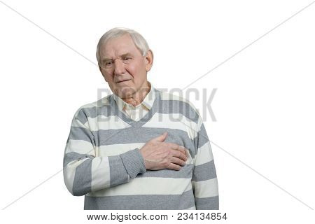 Sick Old Man Suffering From Heart Attack. Painful Senior Man With Pain On Heart, Heart Attack, Isola