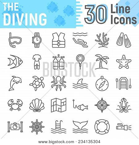Scuba Diving Line Icon Set, Underwater Symbols Collection, Vector Sketches, Logo Illustrations, Sea
