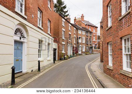 Elegant Terraced Georgian Style Brick Town Houses In The English Town Of Shrewsbury