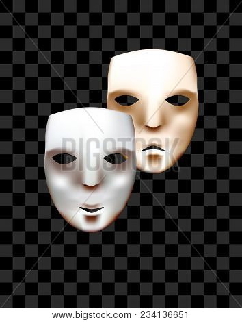 Theatrical Masks On A Checkered Background. Joy And Sadness. Vector Masks.