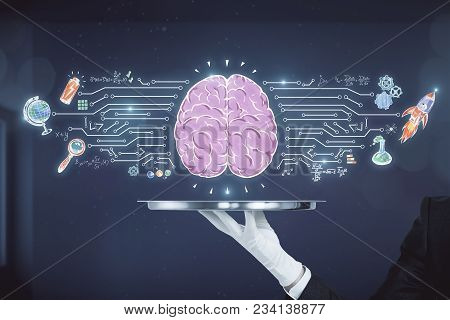 Hand Holding Silver Tray With Business Brain Sketch On Blurry Office Interior Background. Brain Stor