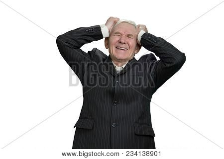 Old Man Holding His Head With Frustration. Upset Senior Businessman Having Nervous Breakdown, White