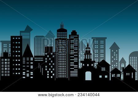 Silhouette Cityscape Architectural Building Skyscrapers Icon. Black Design Flat Style On  Blue Deep