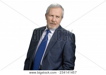Earnest Serious Old Business Man. Successful Smart Man Looks Gravely. White Isolated Background.