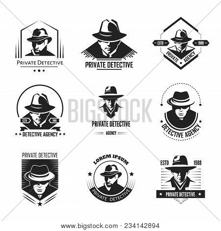 Private Detective Promotional Monochrome Emblems With Man In Hat And Classic Coat. Investigation Ser