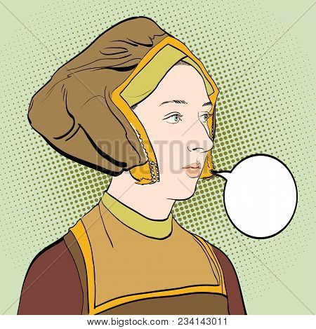Woman's Portrate. Lady In Medieval Dress. Medieval Legend. Medieval Woman.