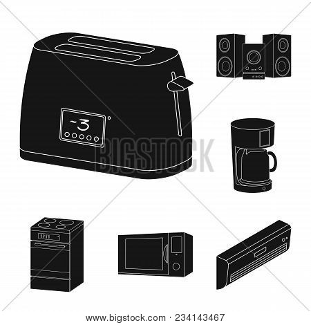 Smart Home Appliances Black Icons In Set Collection For Design. Modern Household Appliances Vector S