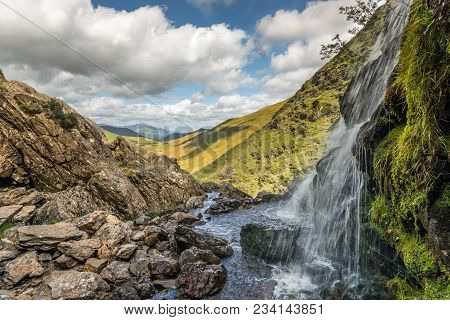 Upper Reaches Of Moss Force Waterfall On Buttermere Moss Near Buttermere Looking Towards Keswick In