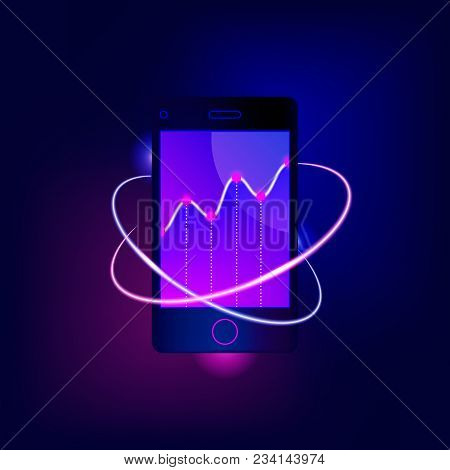 Market Trend Analysis On Smartphone With Line Chart And Motion Neon Blurry Circles. Design Infograph