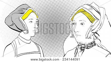 Women's Dialog. Ladies In Medieval Dress. Medieval Legend. Medieval Women.