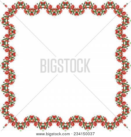 Color  Bouquet Of Flowers (poppies) Pink And Green Tones. Ukrainian Embroidery Elements.  Border Pat