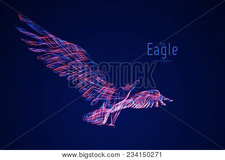 Vector Eagle In Flight From Abstract Swirl Lines. Eagle In Motion, Blue And Red Lines. Concept Of Fr