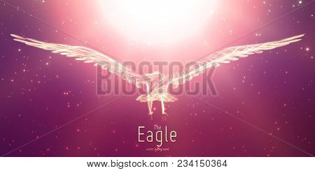 Vector Eagle In Flight To The Sun From Abstract Swirl Lines. Eagle In Motion, Fire Lines. Concept Of
