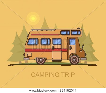 Truck Camper At Forest Or Recreational Vehicle Driving Through Wood, Wildlife Landscape With Rv, Cam