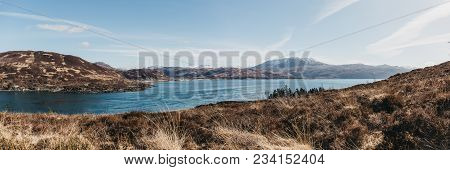 Panoramic View Of Mountains Over Kyle Rhea From Kyle Rhea Otter Hide Trail, Isle Of Skye, Scotland.