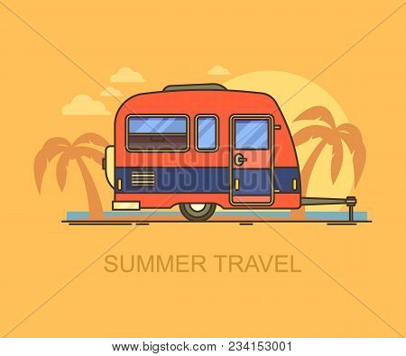 Car Trailer On Summer Beach With Palm Trees. Hind Carriage For Summer Trip Or Journey, Vacation Trav