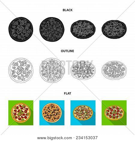 Pizza With Meat, Cheese And Other Filling. Different Pizza Set Collection Icons In Black, Flat, Outl