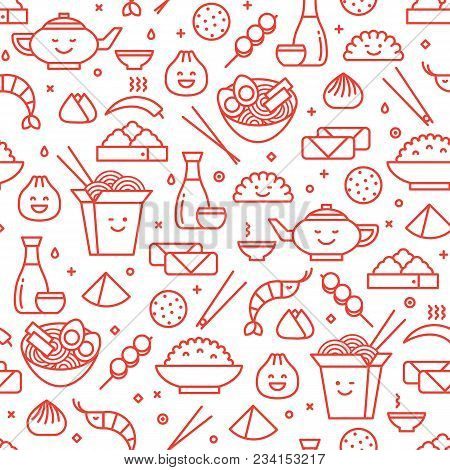 Vector Line Art Iconic Seamless Pattern Of Chinese Food Icons. National  Food Of Different Provinces