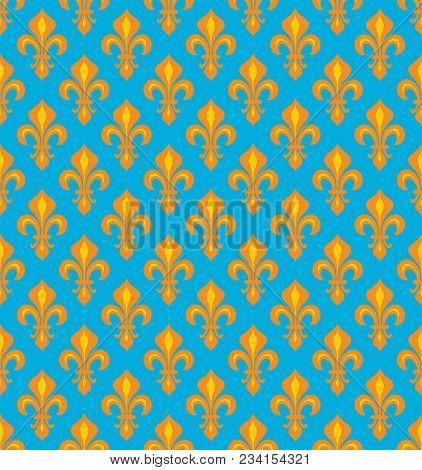 Royal Heraldic Lilies (fleur-de-lis) -- Joyous Cerulean Azure Cyan/orange Velvet, Seamless Pattern,