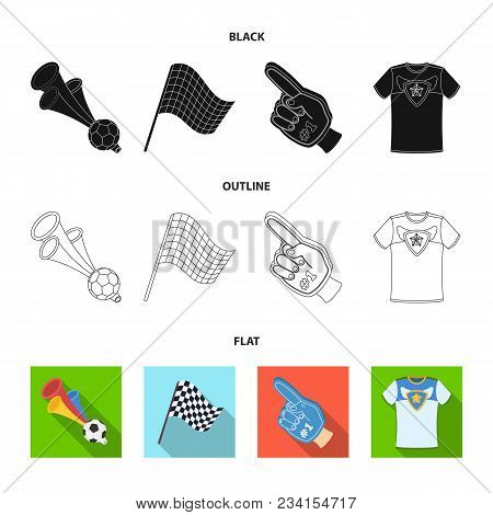 Pipe, Uniform And Other Attributes Of The Fans.fans Set Collection Icons In Black, Flat, Outline Sty