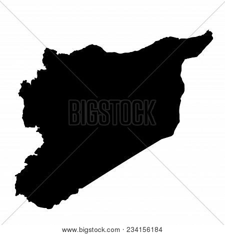 Syria Map. Outline In Black On A White Background Isolated. Vector Image.