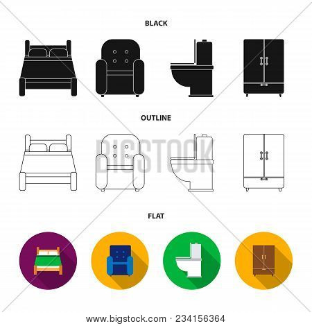 A Bed, An Armchair, A Toilet, A Wardrobe.furniturefurniture Set Collection Icons In Black, Flat, Out