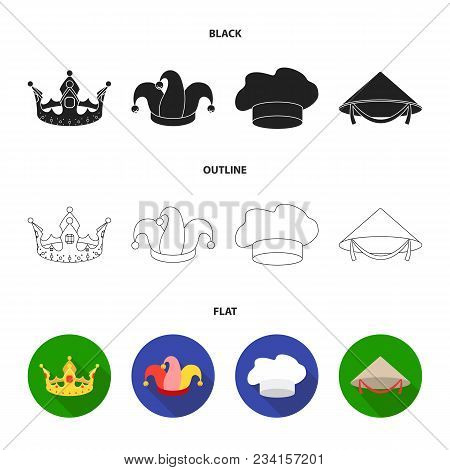 Crown, Jester Cap, Cook, Cone. Hats Set Collection Icons In Black, Flat, Outline Style Vector Symbol