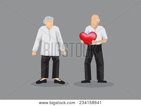 Elderly Couple With Old Man Holding A Heart In His Hand. Cartoon Vector Illustration Isolated On Gre