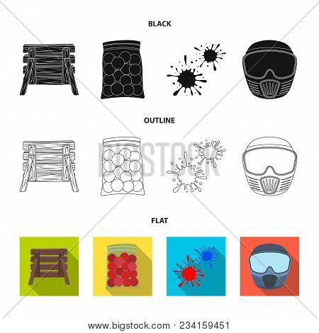 Wooden Barricade, Protective Mask And Other Accessories. Paintball Single Icon In Black, Flat, Outli