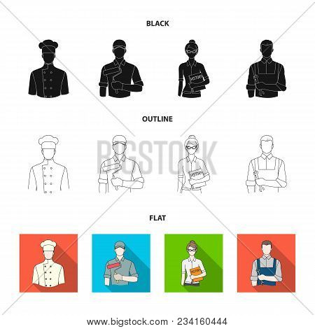Cook, Painter, Teacher, Locksmith Mechanic.profession Set Collection Icons In Black, Flat, Outline S