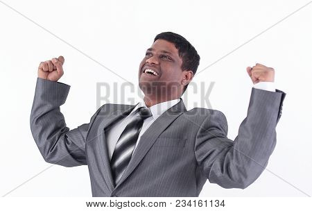 Very Happy Businessman .isolated On A White Background.photo With Copy Space