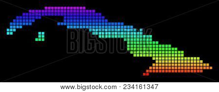 A Dot Cuba Map. Vector Geographic Map In Bright Spectrum Colors On A Black Background. Multicolored