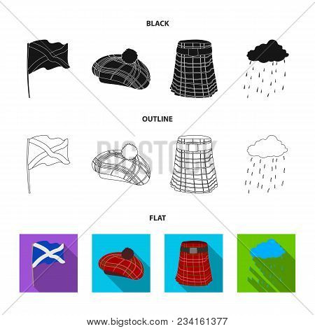 Flag, Kilt, Rainy Weather, Cap.scotland Country Set Collection Icons In Black, Flat, Outline Style V