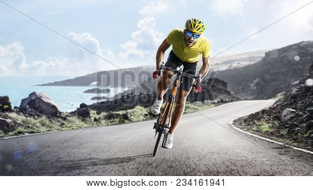 Professional Road Bicycle Racer In The Action