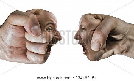 Two Fists With A Male And Female Face Collide With Each Other On Isolated, White Background. Concept