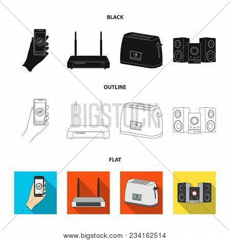 Home Appliances And Equipment Black, Flat, Outline Icons In Set Collection For Design.modern Househo