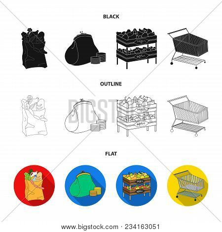 Sausages, Fruit, Cart .supermarket Set Collection Icons In Black, Flat, Outline Style Vector Symbol