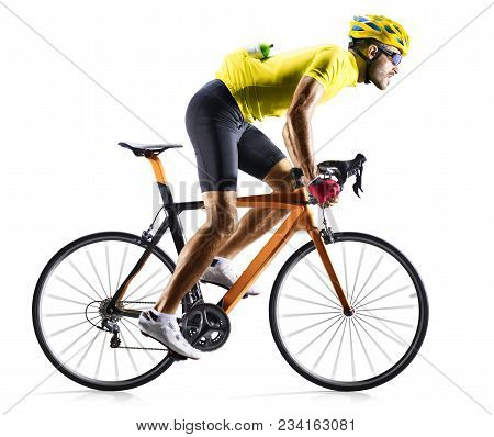 Professinal Road Bicycle Racer Isolated On The White