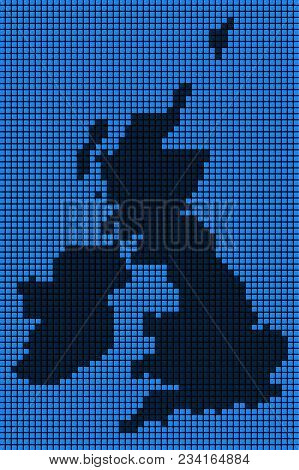 Dotted Pixelated Great Britain And Ireland Map. Vector Geographic Map In Blue Colors. Vector Concept