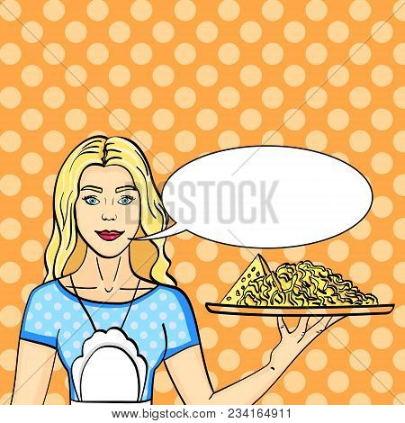 Pop Art Advertising Of Different Kinds Of Cheese. The Girl Is Holding A Tray With Whole And Grated C
