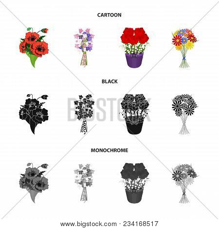 A Bouquet Of Fresh Flowers Cartoon, Black, Monochrome Icons In Set Collection For Design. Various Bo
