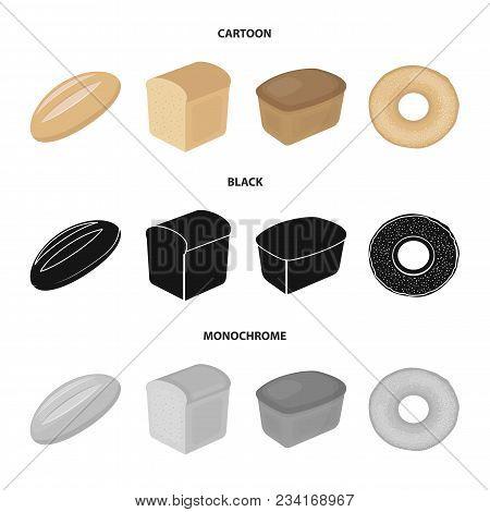 Loaf Cut, Bagel, Rectangular Dark, Half A Loaf.bread Set Collection Icons In Cartoon, Black, Monochr