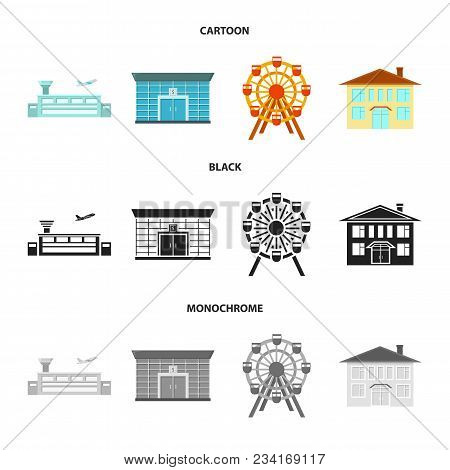 Airport, Bank, Residential Building, Ferris Wheel.building Set Collection Icons In Cartoon, Black, M