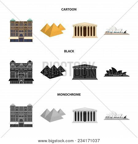 Sights Of Different Countries Cartoon, Black, Monochrome Icons In Set Collection For Design. Famous