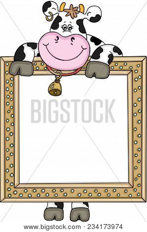 Scalable Vectorial Representing A Cute Cow With Frame, Element For Design, Illustration Isolated On